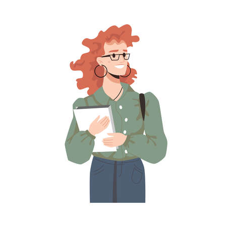 Smiling fashionable red-haired girl in glasses with curly hair, books in hands isolated cartoon character. Vector adult female in earrings, college or university student with bag and textbooks