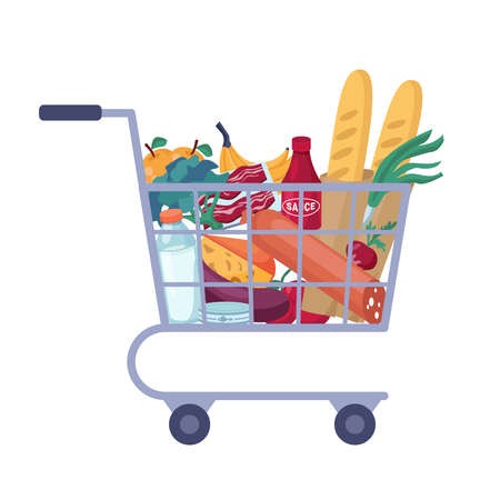 Full shopping cart with store groceries isolated trolley full of food. Vector grocery, butchery and dairy products flat cartoon. Meat and cheese, fruits and vegetables, sauce and canned fish, sausages Ilustración de vector
