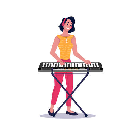 Girl playing digital piano isolated flat cartoon woman. Vector female musician playing synthesizer musical instrument, pianist practicing on music lessons on electric piano, composer performer