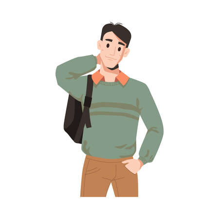 Man in sweater and beige jeans with backpack isolated college or university student. Vector urban guy, caucasian american businessman in casual cloth, handsome male character flat cartoon portrait