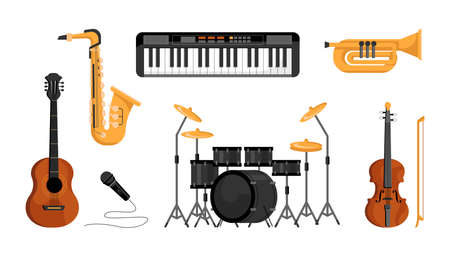Musical instruments set isolated flat-cartoon icons. Vector digital piano, acoustic guitar and violin string tools, saxophone and brass blowing trumpet, drums, microphone. Music band playing objects Standard-Bild - 157301182