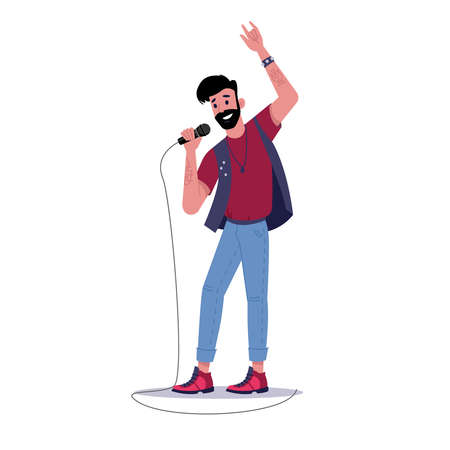 Rock soloist singing into microphone isolated bearded man singer. Vector solo musician sing songs, person band music group player stand with mic. Professional vocalist, guy in karaoke, record studio