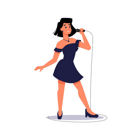 Woman singer singing into microphone isolated lady in evening dress. Vector female soloist sings karaoke into mic. Solo musician, person band music group player, professional vocalist in record studio