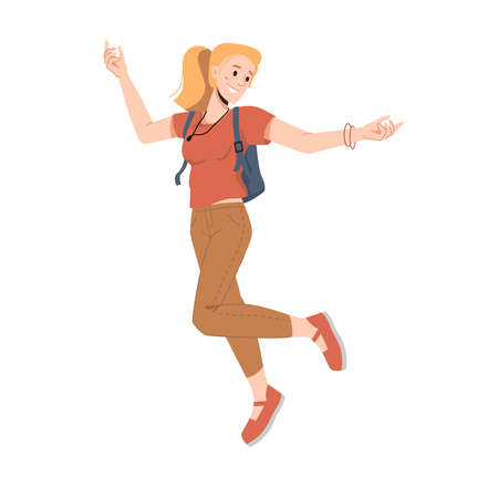 Smiling blonde woman with ponytail, leaping or jumping isolated college university student in trendy clothes. Vector american or european female in with fashion backpack, flat cartoon character Иллюстрация