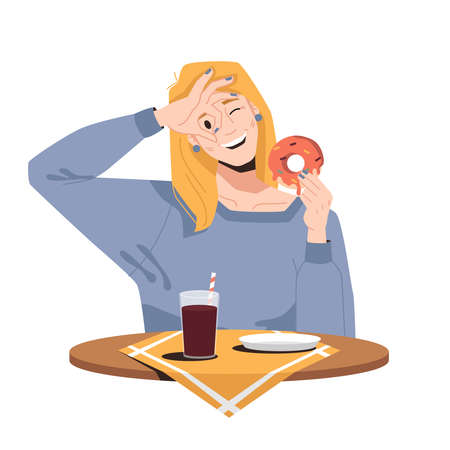 Smiling blonde woman eating donut and drinking soda isolated girl in cafe or restaurant. Vector caucasian female showing zero by hands near eyes, cola drink and doughnut with sugar sprinkles
