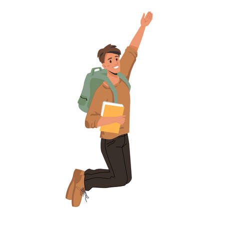 Dark haired man student merrily leaps or jumps with fists up, passed exams successfully. Vector man in sweater and trousers, leaping or jumping from delight with textbook, notebook, copy book in hands