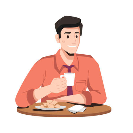 Smiling man in tie drinks coffee with cookies or waffles on plate isolated flat cartoon character. Vector businessman on lunch, male in shirt drinking tea and enjoying fresh bakery in cafe restaurant
