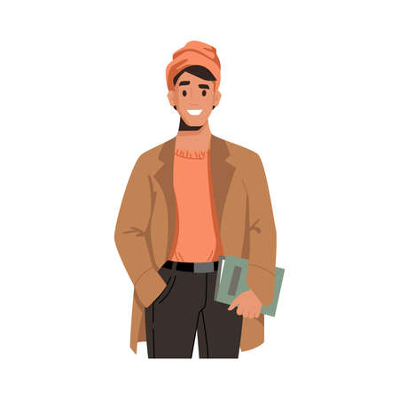 Smiling trendy guy in raincoat and hat with book isolated flat cartoon character. Vector autumn fall fashion look, fashionable man holding textbook in hands, college or university student portrait