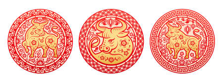 Chinese New year 2021 greeting card, golden Metal Ox zodiac sign circled by flowers. Vector peonies arrangement in circle around bull oriental horned animal, ornamental papercut decorations set