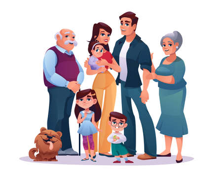 Big family parents, grandparents and children isolated on white. Vector cartoon mother and father, grandmother and grandfather, infant daughter and son. Kids and pet dog, happy relatives portrait Illustration
