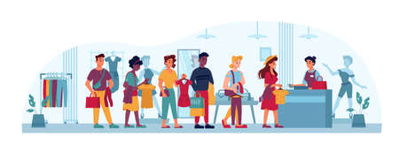 Queue in clothing store, people in line to cashier, vector flat cartoon. People in queue, shopping buying and paying clothes in trade center at checkout counter, men and women waiting with paper bags