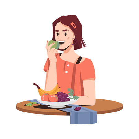 Girl eating fruits healthy food isolated woman in flat cartoon. Vector female student eats apple, banana, oranges and grapes on plate, napkin on table. Vegetarian desserts consumption, organic snack Standard-Bild - 157725976