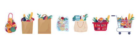 Consumer food basket with bakery, meat and butchery products isolated set. Vector full shopping cart, paper and cloth bag with store groceries, trolley full of food. Dairy cheese, fruits, vegetable Illustration