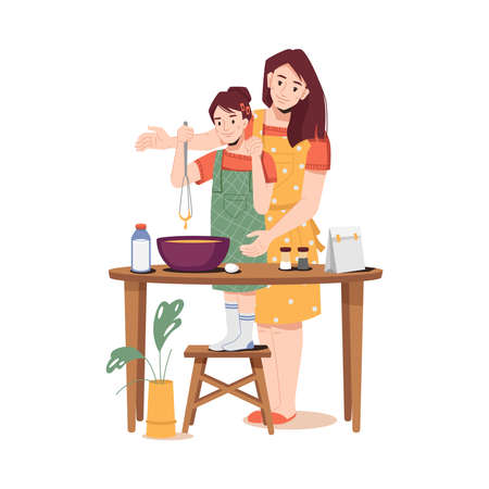 Mother teachers daughter to cook, girl helping mum with cooking. Vector woman and young lady making dough together, mixing flour on table to bake cake or bread. Milk, egg, salt or sugar on desk
