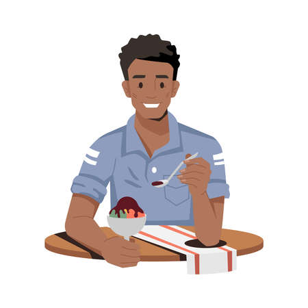 Smiling african eating chocolate ice cream isolated flat cartoon character. Vector afro-american smiling guy enjoying sweet dessert. Person sitting at table with napkin in cafe or restaurant Illustration