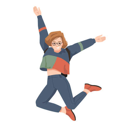 Smiling girl in glasses and backpack behind her back, merrily leaps jumps with hands up. Vector woman in casual suit with rucksack bag, leaping or jumping, college university student in good mood