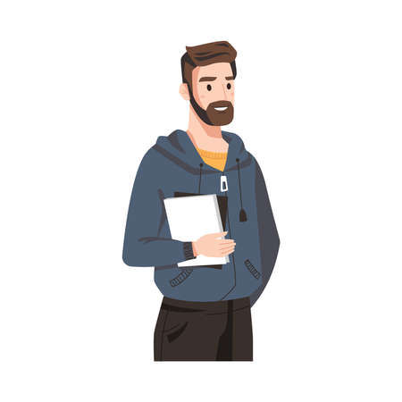 Smiling man with beard in sweatshirt, book in hands isolated adult person flat cartoon. Vector business couch, teacher with notebook or textbook, businessman financial analytic in hoodie and trousers Illustration