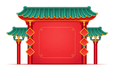 Temple with bamboo roof in Chinese style isolated red building. Vector China and Japan mascot, pagoda castle with columns, copy space. Japanese house, ancient oriental palace, decorative pavilion
