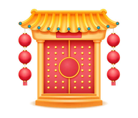 Temple with bamboo roof, closed gate with carpet on steps isolated. Vector Chinese style building, pagoda castle oriental palace, decorative pavilion. Ancient Japanese or Korean house entrance door 向量圖像
