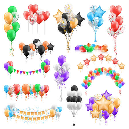 Bunches of color glossy balloons isolated set. Vector compositions of colorful air garlands, star and ball shaped party decorations. Helium balloon with confetti, birthday, anniversary wedding decor 向量圖像