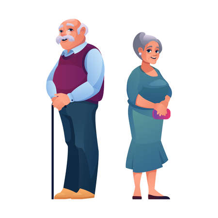 Man and woman of old age isolated elderly couple, man with stick and pretty mature woman in dress isolated. Vector grandfather and grandmother, pensioners caucasian grandma and grandpa on retirement 向量圖像