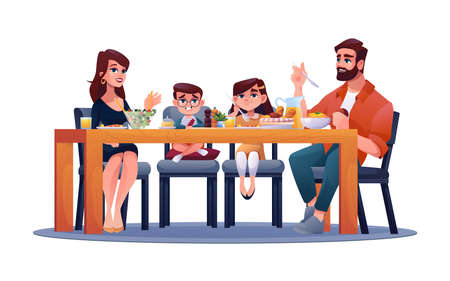 Parents with children at table, mother, father and kids enjoy dinner together. Vector happy family holidays, sitting at chairs, enjoying meal with mum and dad. Son and daughter, served food and drinks
