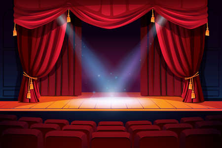 Rows of theater seats, classic stages with curtains and spotlights. Vector festive scene with lights and screen. Concert, dance event show, performance or music festival, illumination and decorations