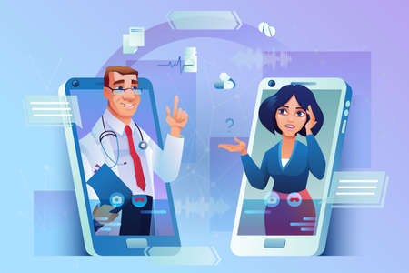 Doctor consulting patient online isolated male practitioners in glasses with patients list and stethoscope, brunette woman in smartphone. Consultation via mobile phone, medical support application