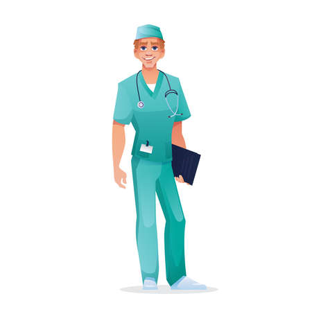 Surgeon doctor with stethoscope and folder, in short-sleeved scrub top and pants isolated medical worker. Vector practitioner with list of patients stories in hands, physician, pediatrician, therapist