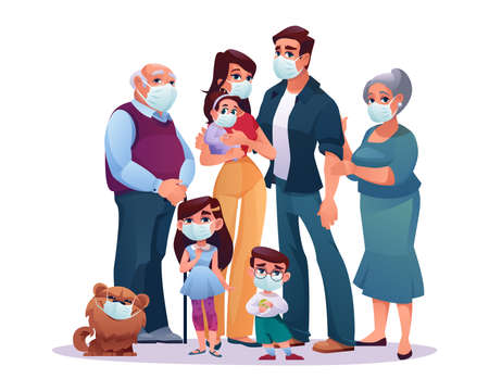 Big family parents, grandparents and children in protective medical masks isolated. Vector covid-2019, stay safe, cartoon mother and father, grandmother and grandfather, infant daughter and son