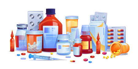Medication drugs, pills and tablets, capsules set isolated icons. Vector meds, pharmaceutical pharmacy tablets, syringe injections. Various glass bottles with liquid medicines, plastic tubes with caps