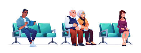 Waiting room, people sitting on chairs in queue isolated on white. Vector elderly couple, woman and man healthcare clinic patients wait their turn. Clients of bank, travelers, social distance