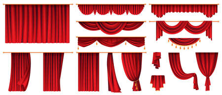 Set of red curtains isolated decorative stage cloth. Vector luxury cornice decor, domestic fabric interior drapery textile labrecque, scarlet silk velvet curtain. Theatre, cinema scenes decorations