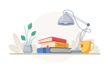 Stack of books, lamp, and cup of tea, green plant in pot isolated. Vector desk with textbooks or encyclopedias, workplace of student or pupil. Workspace, learning and education, vase with green leaves