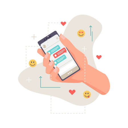 Application, smartphone in hand, online communication, chat with likes and emoticon smileys isolated. Vector phone or cellphone with dialogue on screen display, person holding gadget with sms messages