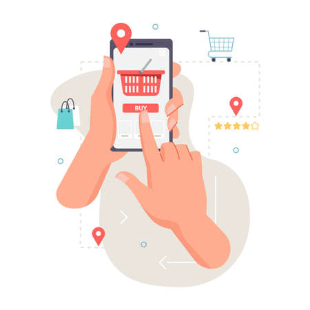 Application, smartphone in hand, ordering food, products, location. Vector food and fastfood online order, person tapping on screen to deliver food. Red shopping cart trolley, mobile app mockup