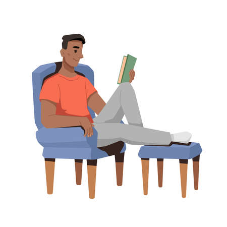 Afro american guy reading book in chair with footrest isolated flat cartoon character. Vector studying or relaxing in armchair, smart couch reader with magazine. Hobby, spending free time