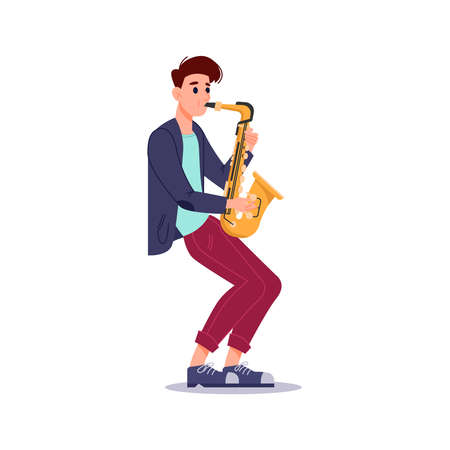 Guy plays saxophone isolated flat-cartoon musician. Vector saxophonist playing on blowing musical instrument, jazzman orchestra player with sax. Professional artist musical performer on concert 向量圖像