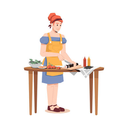 Woman in apron preparing sushi isolated flat cartoon character. Vector female cooking chinese and japanese cuisine food, rice with salmon, tomatoes, sauces and cutting board, bowl with greens