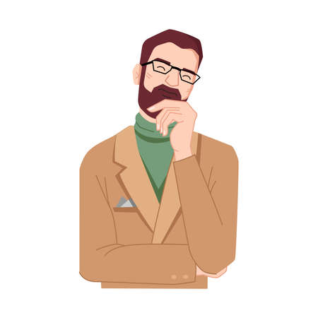 Thinking dreaming man, holding beard by hand isolated. Vector guy in glasses, fingers on face. Standing male, careful mindful flat cartoon character. Confused, hesitating businessman entrepreneur