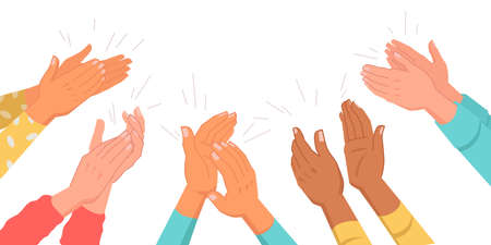 Set of clapping hands isolated multinational various skin color palms. Vector applauding people, appreciation and congratulation, encouragement concept. Crowd applause, bravo by high five, success