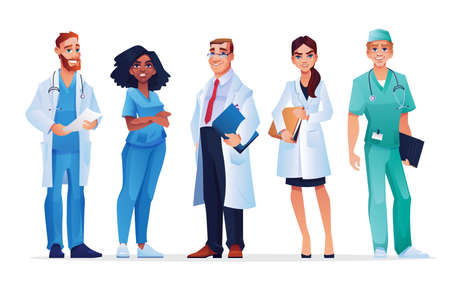 Doctors and nurses healthcare workers team isolated medical staff. Vector males and females in blue scrubs and white coats, with stethoscopes and folders. Group of professional practitioners, surgeons