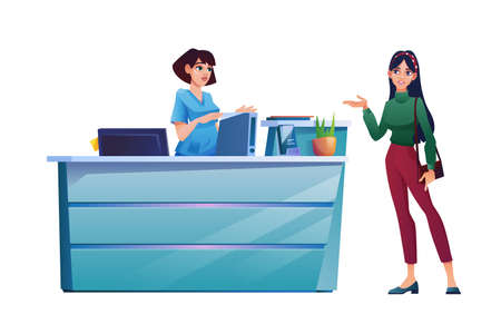 Patient speaks to receptionist, medical staff, reception desk with folders, computer and plant in pot. Vector woman customer talking to female nurse or doctor, scene of clinic hospital visit