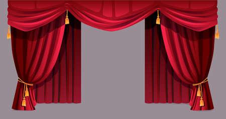Velvet curtain isolated decorative stage drapery cloth of silk with golden tassels ropes. Vector luxury cornice decor, domestic fabric interior textile labrecque. Theatre, cinema scenes decorations Vecteurs
