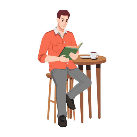 Guy at table in cafe reading book isolated cartoon character. Vector man sitting on chair, cup of coffee on table, male student studying or working in cafe or restaurant. Serious person with textbook 向量圖像