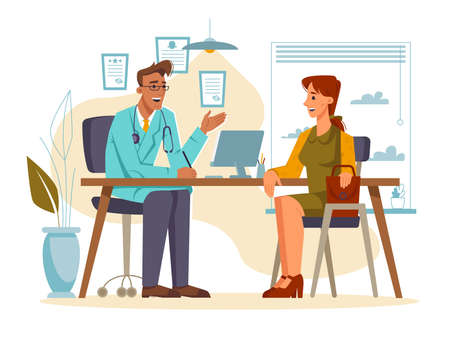 Appointment or consultation at doctors office. Patient listening to recommendations of family doc. Lady sitting by chair next to surgeon or general practitioner. Cartoon character, vector in flat