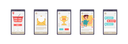 Everyday mobile apps on screen of smartphone. Isolated set of mobile phone icons showing shop webpage, mailbox and social media. Shopping and entertenting using gadgets, vector in flat style