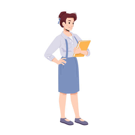 Woman wearing formal suit holding documents in hands. Isolated businesslady or teacher, entrepreneur or boss. Manager or secretary with work tasks report. Cartoon character, vector in flat style