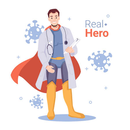 Heroic doctor fighting against coronavirus disease. Cartoon character with stethoscope and cape surrounded by molecules of covid. Medical worker or doctor with long cloak. Vector in flat style 向量圖像