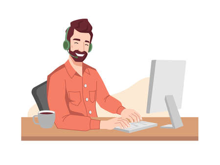 Guy operator smiles in headphones and microphone typing on keyboard. Vector online call center worker, customer service support center. Programmer, interpreter, psychologist communicating via computer